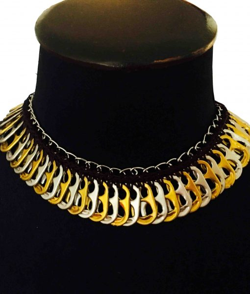 Pop tabs necklace yellow